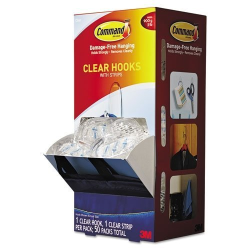 3M Command Clear Hooks and Strips, Plastic, Medium, 50 Ho...