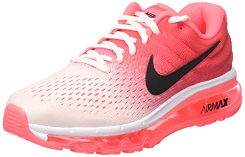 Nike Womens Air Max 2017 Running Shoes (8.5, White/Black/Hot Punch)