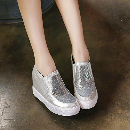 Carolbar Femmes Paillettes De Mode Plate-forme Décontractée Talon Caché Chaussures Argent