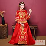 Generic 2018 new bride married toast clothing Chinese wedding dress costume wedding dress embroidered kimono show Wo suit for women girl