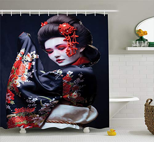 Lunarable Japan Shower Curtain, Young Geisha in Kimono with Sakura Traditional Oriental Costume Makeup, Cloth Fabric Bathroom Decor Set with Hooks, 70