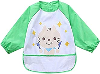 4G-Kitty Waterproof Bib with Sleeves/&Pocket Unisex Kids Childs Arts Craft Painting Apron 6-36 Months 3pcs