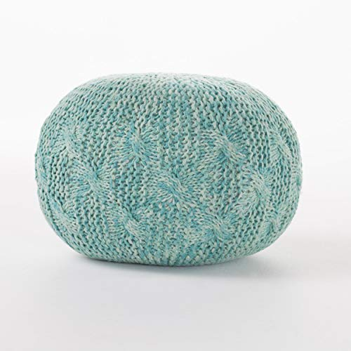 Christopher Knight Home Ash Indoor/Outdoor Fabric Hand Knitted Weave Pouf (Aqua) (Pattern Pouf Ottoman Knitted For)