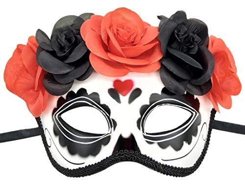 Biruil Women's Day The Dead Mask Sugar Skull Half Face Mexican Masquerade Eyemask (Half Heart) -