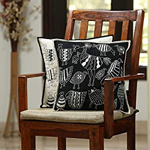 ExclusiveLane The Contrasting Stitches Handstitched Bedroom Living Room Sofa & Diwan Cotton Cushion Cover 16×16