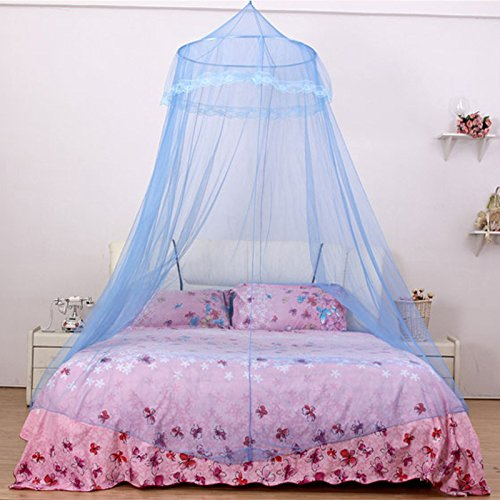 Luxury Lace Hanging Bed Net Canopy Mosquito Netting Fit Twin Full Queen Bed Blue