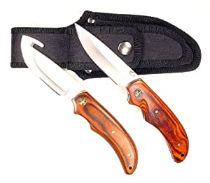 Ruko Pakkawood Handle Gut Hook Skinning Knife Set with Folding Knife and Nylon Sheath