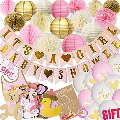 (Baby Shower Decorations for Girl - 80PC Bundle Includes - Garland Bunting Banner Bonus+30PC Photo Booth Props Bonus+8PC Balloons Plus+E-Book Prediction Card and Decorations Set with in Ziplock)