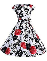 Women Vintage Dress Summer Casual Floral Classy 1950s Cocktail Party Bodycon Prom Swing A-Line