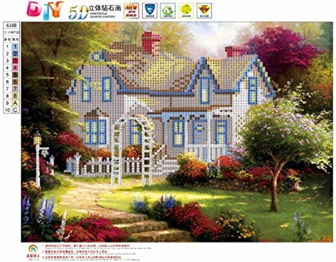 5D DIY Diamond Painting by Number Kit Round Dril Beads Crystal Rhinestone Embroidery Cross Stitch Picture Supplies Arts Craft Wall Sticker Decor Forest House 12x16In