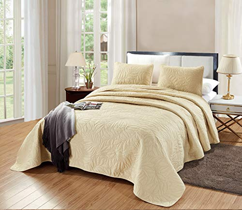 """GrandLinen 3-Piece Bedding Savannah Quilt Set Solid Light Taupe Oversize Queen Size 106""""X100"""" Bedspread with 2 Pillow Shams - Leaf Foliage Silhouette Pattern Soft Microfiber Coverlet"""