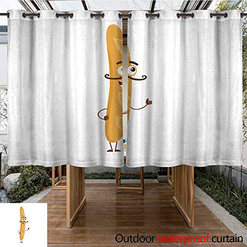 r Curtain for Patio French Baguette Bread Character with Smiling Human face and Mustache W63 x L72 ()