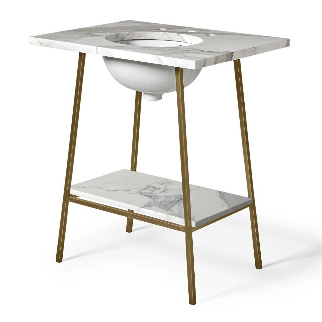 Waterworks Rowan Washstand with Slab in Brass