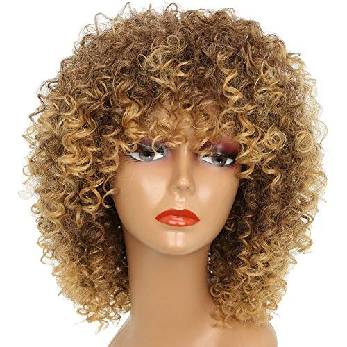 MISSWIG Short Kinky Curly Wigs for Black Women Blonde Mixed Brown Synthetic Hair Wigs Female Afro Full Wigs -