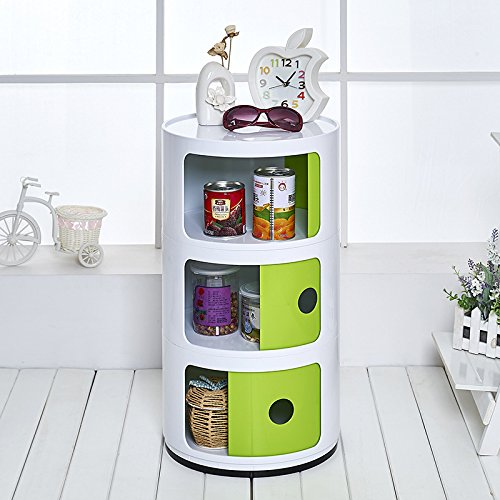 Storage Box-Wardrobe Round Bedside Table Combination, Storage Cabinet Storage Cabinet Finishing Cabinet Green + White 2Floor