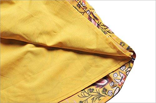 Chiffon Yellow Kleider S JFin Druck Großen Weiblichen Losen Lotus xF41HqCw