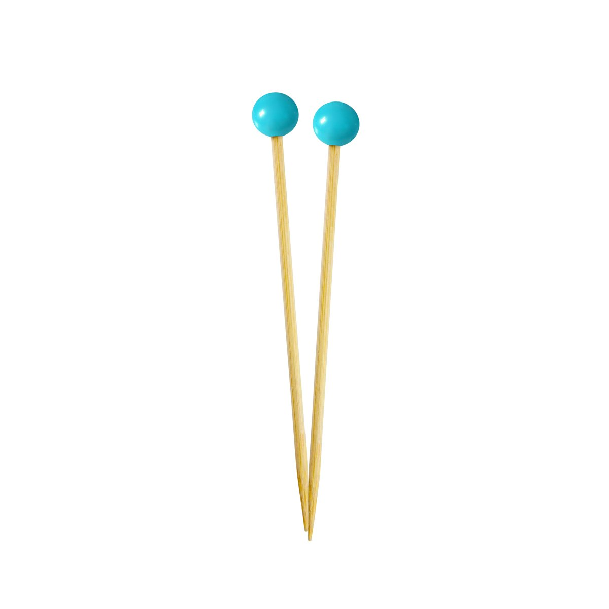 Simply Baked Small Appetizer & Cocktail Pick, Turquoise Ball on Natural Wood Pick, 3.5 Inch, 40-Pack, Disposable and Sturdy
