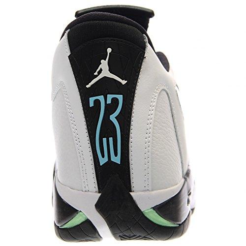 Nike Herren Air Jordan 14 Retro Basketballschuhe white, black-oxdzd grn-lgnd bl