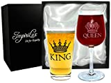 Impirilux King Beer & Queen Wine Glass Set | Beautiful Affordable Gift for Newlyweds, Engagements, Anniversaries, Weddings, Parents, Couples, Christmas - Novelty Drinking Glassware