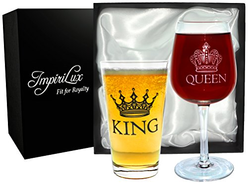 King Beer & Queen Wine Glass Set | Beautiful Affordable Gift for Newlyweds, Engagements, Anniversaries, Weddings, Parents, Couples, Christmas - Novelty Drinking Glassware