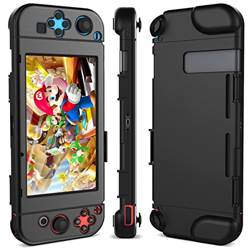 Nintendo Switch Case, Dexnor Nintendo Switch Hard Case Protective Back Cover Anti-Scratch Shock Absorption Video Games Case (Black)