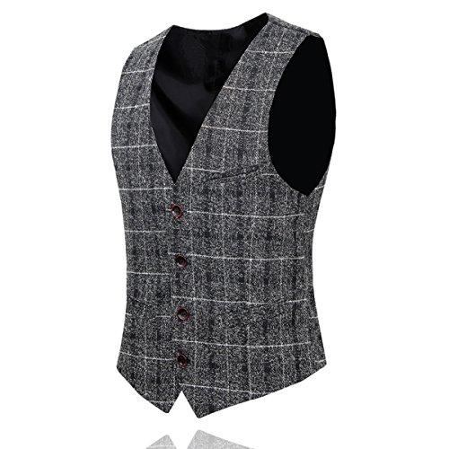 Linen Wool Vest (YFFUSHI Men's Unique Advanced Custom Vest Skinny Wedding 4 Button Waistcoat Slim)