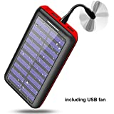 Portable charger Power bank Solar Charger-24000mAh External Battery Pack High Capacity with USB Fan and 3 USB Port for iPhone, iPad, Samsung, HTC, and other Tablet-(red)
