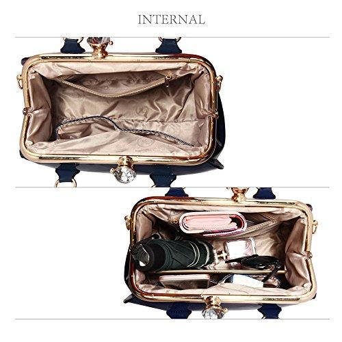 Bolsos de mujer, bolsos de mujer de diseñadores y famosos en piel sintética, bolsa tote patentada Navy Patent Satchel