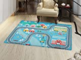 Kids Activity Door Mat Small Rug Lovely City in the Winter Train Track Activity in Cartoon Drawing Style Bath Mat 3D Digital Printing Mat Multicolor