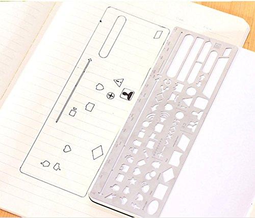 Dibujo regla plantilla multifuncional dibujo regla acero inoxidable Pintura gráfica plantillas plantilla planificador de redacción herramienta para DIY, ...