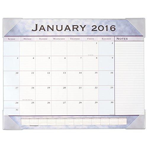 Blue Calendar Desk Slate Pad - AT-A-GLANCE Monthly Desk Pad Calendar 2016, 12 Months, 21-5/8 x 16-7/8 Inches, Slate Blue (89701-16)
