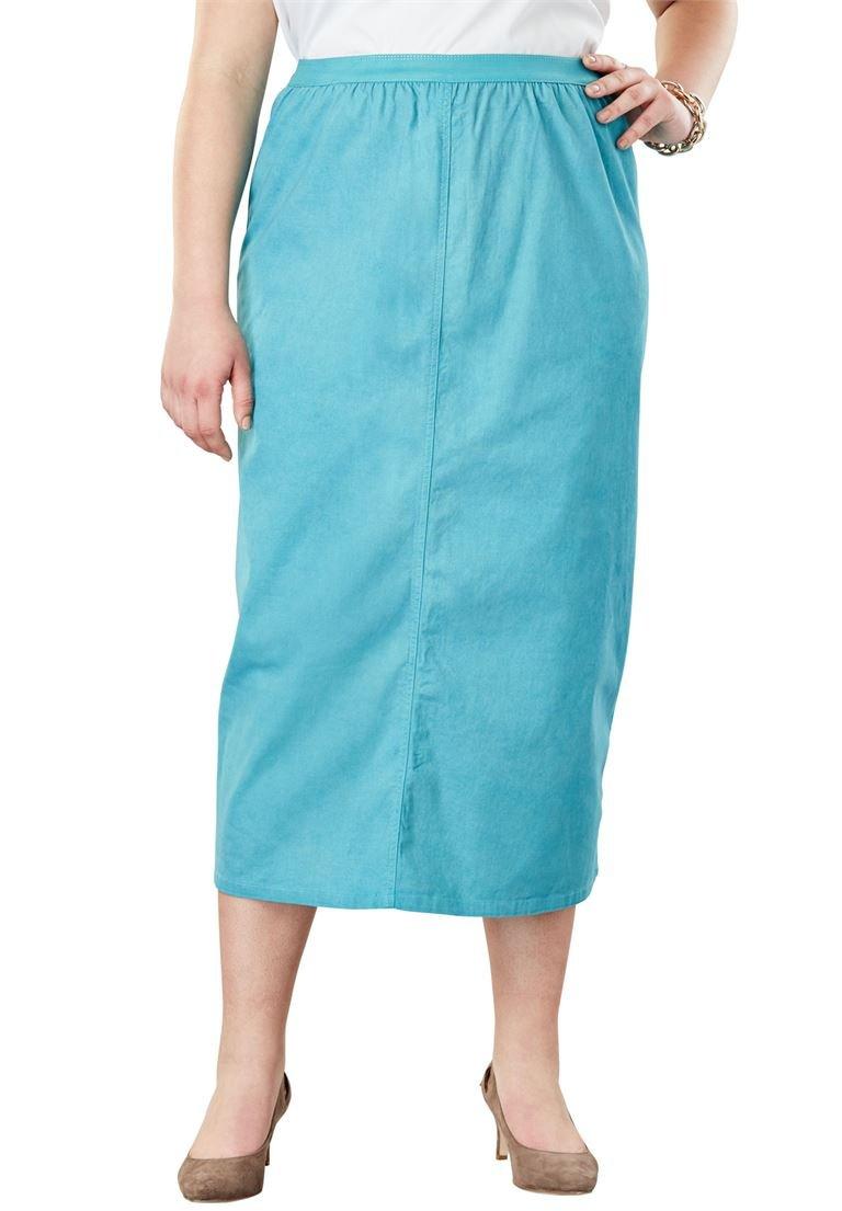 Jessica London Women's Plus Size A-Line Jegging Skirt Dusty Aqua,30 W