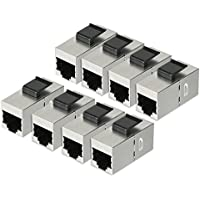 uxcell 8 Packs CAT 6a Keystone Jacks, RJ45 Couplers Female to Female Straight Shielded In-Line Cat6A Cable Network Ethernet Module Silver