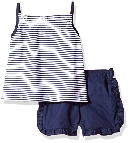 - Isaac Mizrahi Baby Girls' 2 Piece Popover Sleeveless Shirt Set with Shorts, Blue Stripes 24 Months