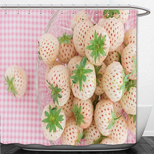 Interestlee Shower Curtain pineberry or hula berry a hybrid strawberry with a pineapple flavor white flesh and red seeds 413096344 (Red Flowered Curtains)