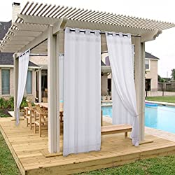 NICETOWN Pergola Drape Outdoor Curtain Panel Light Filtering Mildew Resistant Sheer Voile Curtain with Silver Grommet Top (1 Pack with Rope Tieback, 54 Inch Wide by 108 Inch Long, White)