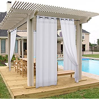 NICETOWN Outdoor Curtain Panel For Porch Window Treatment Silver Grommet  Water Repellent Indoor Outdoor Sheer Drape With Rope Tieback (1 Panel, ...