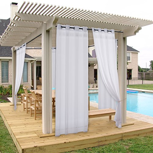 NICETOWN Outdoor Curtain and Drapery Panel for Patio All Season Fade Resistant Grommet Top Indoor Outdoor Sheer Voile Drape with Rope Tieback (1 Piece, 54 x 96 Inch in White) (Patios Drapes Outside)