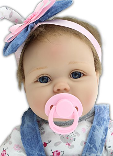 Pinky 22 Inch 55cm Adorable Soft Silicone Babies Life Like Reborn Dolls Realistic Baby Girl True Looking Newborn Doll Toddler Toy Birthday Xmas Gift