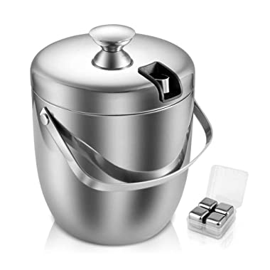 Fortune Candy Double Walled Ice Bucket,Beer Bucket for Parties,Stainless Steel Ice Tongs with Lid 2.8L/ 2.7 Quart (Silver)