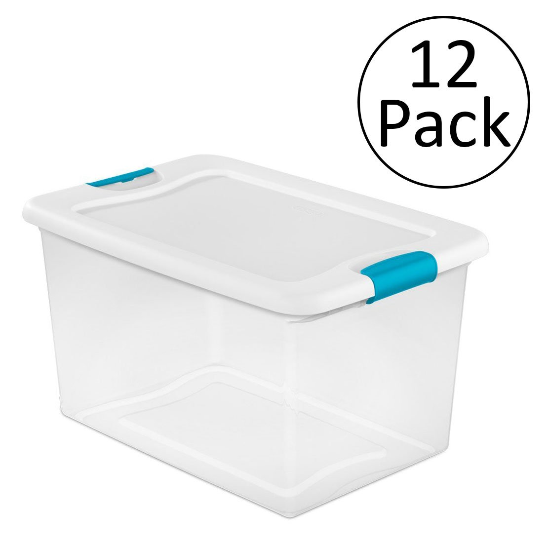 Sterilite 64 Quart Latching Plastic Storage Box, Clear w/ Blue Latches (12 Pack)