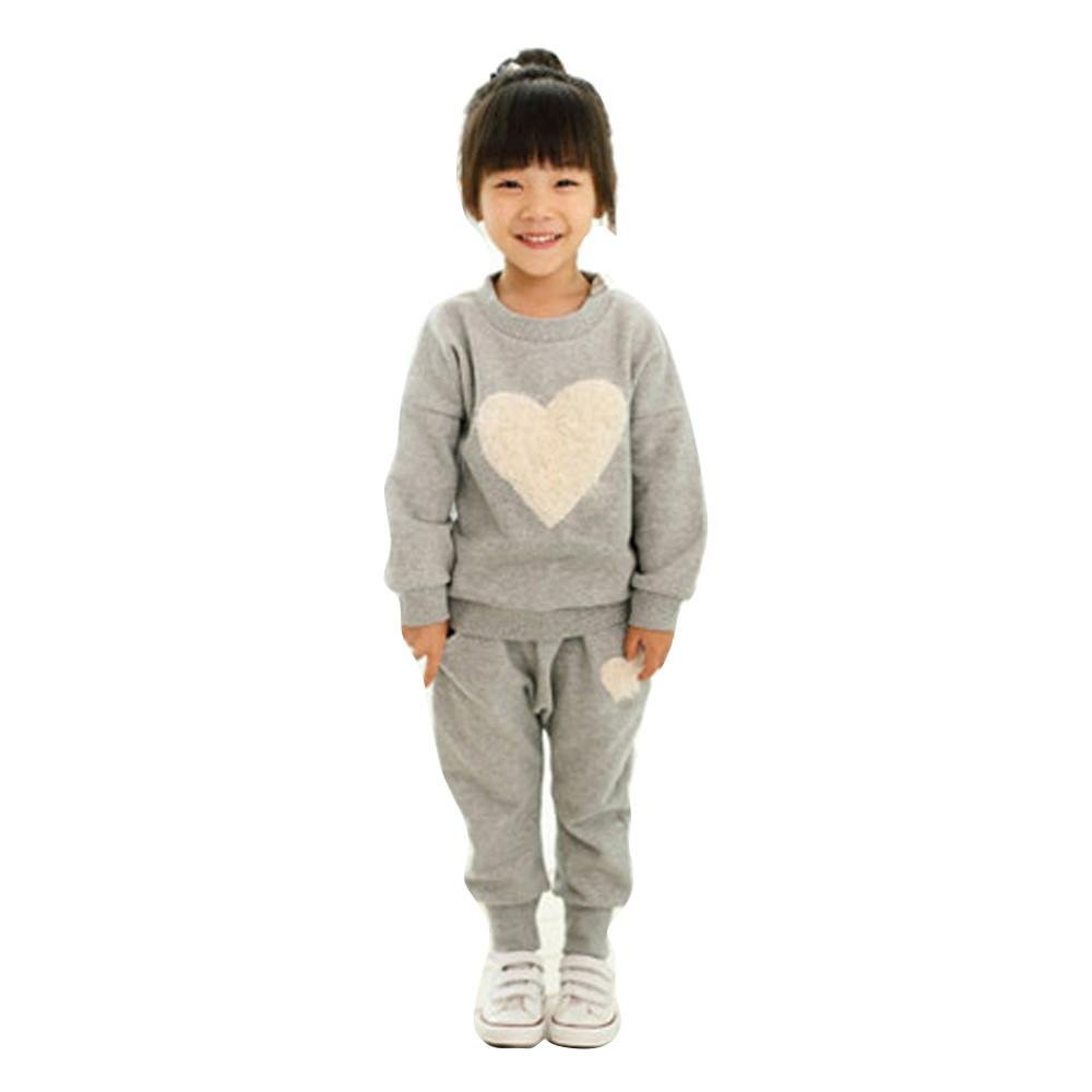 Kids Pants Set, FTXJ Girls Long Sleeve Heart Print Tracksuit +Harem Pants Outfits Set