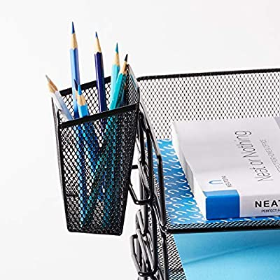NEATOPA Paper Document Letter Tray Desk Organizer – Black Mesh Metal 4 Tier Stackable File Holder Organizer with Free Pen Holder