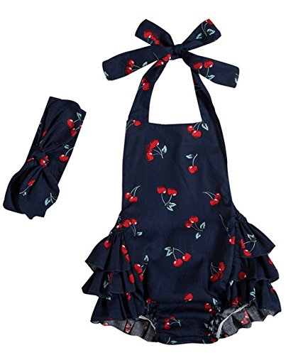 Messy Code Baby Girls Clothes Onesies Boutique Toddlers Ruffle Rompers Jumpsuit, Small / 6-12Months, Navy Cherry 1559#