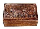 Country Style Wooden Jewelry Trinket Keepsake Storage Box Organizer Multipurpose with Hand Carved Elephant Design