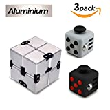 Aluminium Infinity Cube, Relieves Stress Fidget Cube Toy for Adults and Kids (3 Pack)