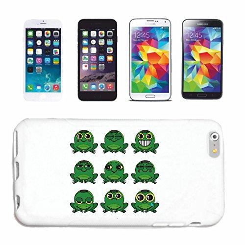 """cas de téléphone iPhone 5 / 5S """"GRENOUILLES FUNNY """"sourire de émoticônes de SMILEYS SMILIES ANDROID IPHONE EMOTICONS IOS APP"""" Hard Case Cover Téléphone Covers Smart Cover pour Apple iPhone en blanc"""