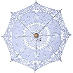 Leoie Retro Court Style Bridal Lace Umbrella Women Vintage Parasol Sun Umbrella Decoration for Wedding Party White S