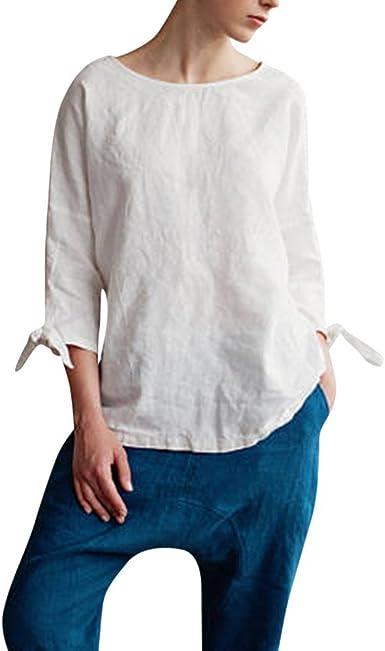 Camisa De Túnica Mujer Elegante De Tops Casual Kimono Mode De Marca O Cuello Top De Lino De Algodón con Corbata Manga Suelta Ropa Básica Básica De Manga Larga: Amazon.es: Ropa y