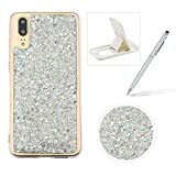 Glitter Case for Huawei P20,Rubber Cover for Huawei P20,Herzzer Ultra Thin Slim Luxury Pretty [Silver Sequins] Sparkle Diamond Soft Gel Silicone Clear Bumper Back Cover